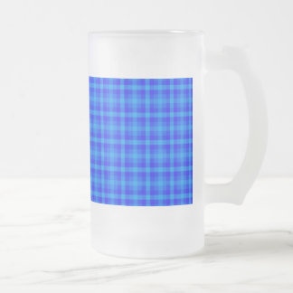 Turquoise and Blue Retro Chequered Pattern Frosted Glass Beer Mug