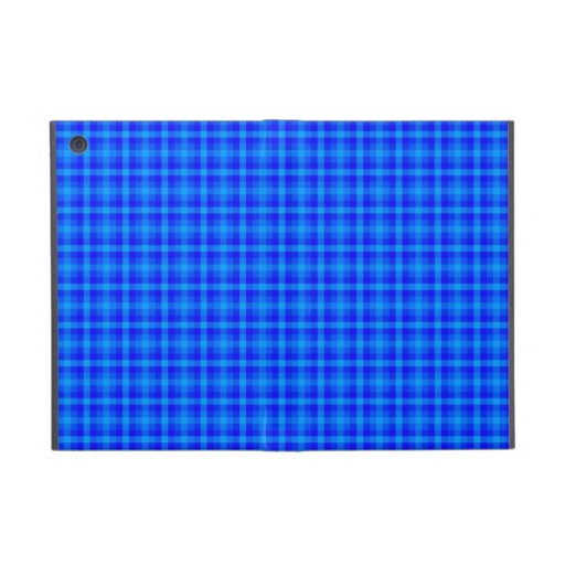 Turquoise and Blue Retro Chequered Pattern Covers For iPad Mini