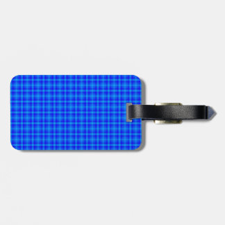 Turquoise and Blue Retro Chequered Pattern Luggage Tag