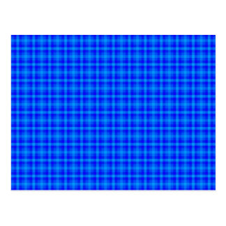 Turquoise and Blue Retro Chequered Pattern Postcard