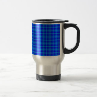Turquoise and Blue Retro Chequered Pattern Travel Mug