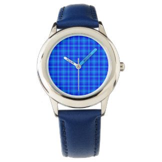 Turquoise and Blue Retro Chequered Pattern Watch