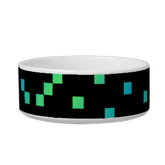Turquoise and Blue Squares on Black. Bowl