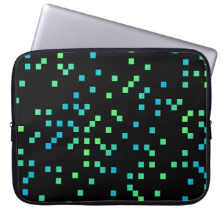 Turquoise and Blue Squares on Black Computer Sleeve