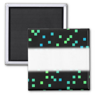Turquoise and Blue Squares on Black. Square Magnet