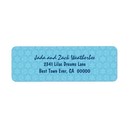 Turquoise and Blue Stars Wedding G220 Return Address Label