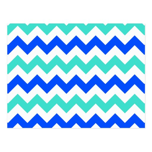 Turquoise and Blue Zigzag Postcards