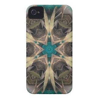 Turquoise and bronze abstract design iPhone 4 cases