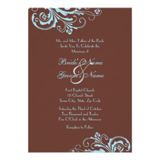 Turquoise and Brown Chic Wedding Invitation