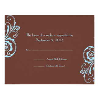 Turquoise and Brown Chic Wedding RSVP Personalised Invites