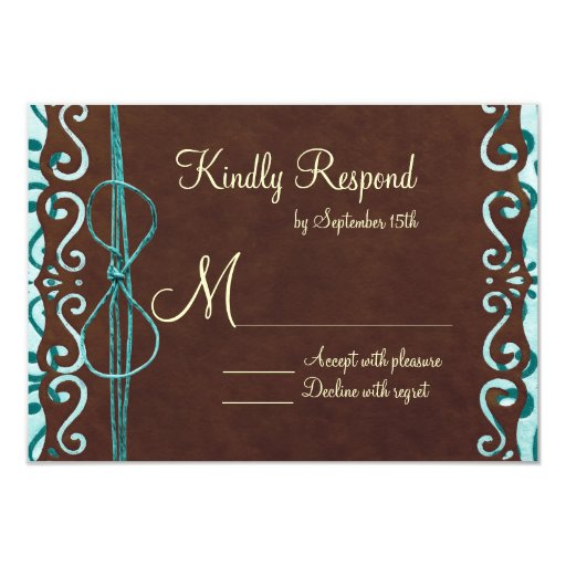 Turquoise and Brown Country Wedding RSVP Cards