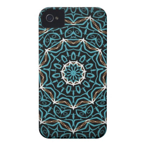 turquoise and brown pattern iPhone 4 cover