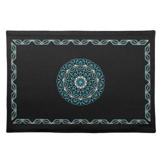 turquoise and brown placemat