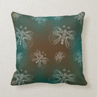Turquoise and brown retro butterfly pattern cushion