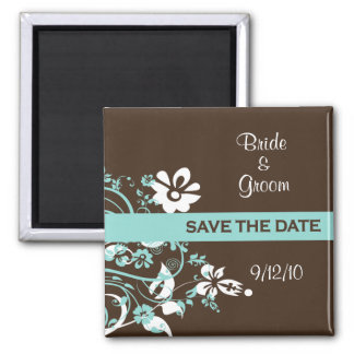 Turquoise and Brown Save the Date Magnets