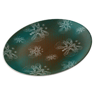Turquoise and brown vintage butterfly plate