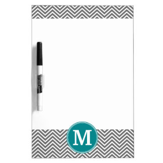Turquoise and Charcoal Chevrons Custom Monogram Dry Erase Board