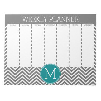 Turquoise and Charcoal Chevrons Custom Monogram Notepads