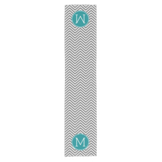 Turquoise and Charcoal Chevrons Custom Monogram Short Table Runner