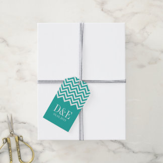 Turquoise and coral chevron wedding favor gift tag