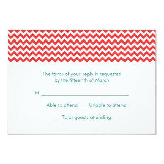 Turquoise and Coral Chevron Wedding RSVP Card 9 Cm X 13 Cm Invitation Card