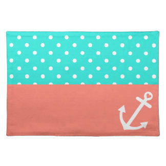 Turquoise and Coral Polka Dot Nautical Love Place Mat