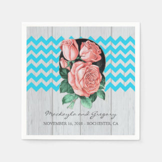 Turquoise and Coral Rustic Chic Wedding Disposable Napkins