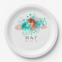 Turquoise and Coral Tropical Floral Wedding Paper Plate