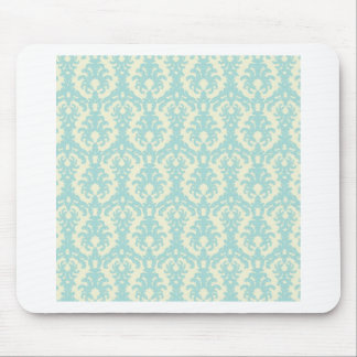 Turquoise and Cream Damask Mouse Pad
