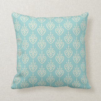 Turquoise and Cream Pattern Decorative Pillow Cushion