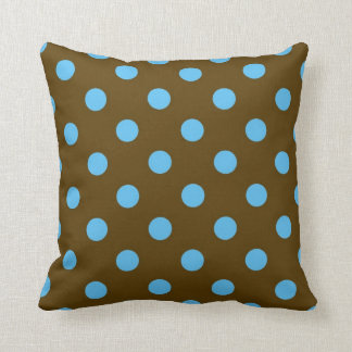 Turquoise and dark brown polka dots on a pillow