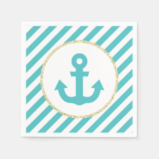 Turquoise and Gold Anchor Napkins Disposable Serviette