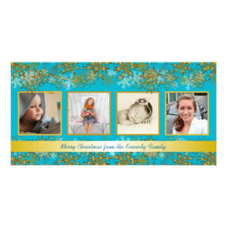 Turquoise and Gold Family Photo Christmas Card Personalized Photo Card