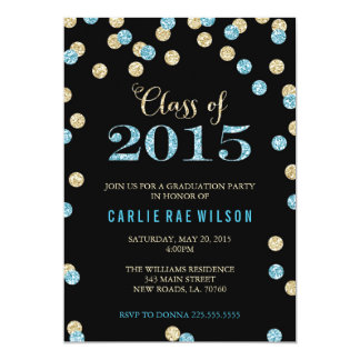 Turquoise and Gold Glitter Graduation Invitations