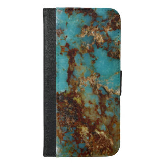 Turquoise and gold iPhone 6/6s plus wallet case