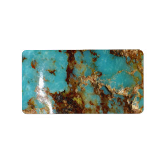 Turquoise and gold label