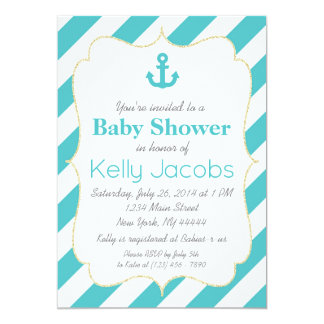 Turquoise and Gold Nautical Baby Shower Invitation