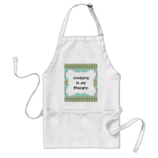 Turquoise and Gold Tribal Arrowhead Zigzags Design Adult Apron