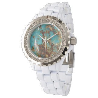 Turquoise and gold wrist watch