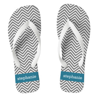 Turquoise and Gray Chevrons Custom Name Flip Flops