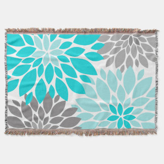 Turquoise and Gray Chrysanthemums Floral Pattern