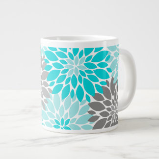 Turquoise and Gray Chrysanthemums Floral Pattern Giant Coffee Mug