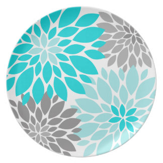 Turquoise and Gray Chrysanthemums Floral Pattern Party Plates