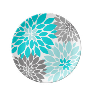 Turquoise and Gray Chrysanthemums Floral Pattern Plate