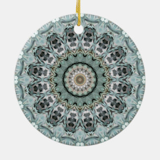 Turquoise and Gray Mandala Art Kaleidoscope Christmas Ornament