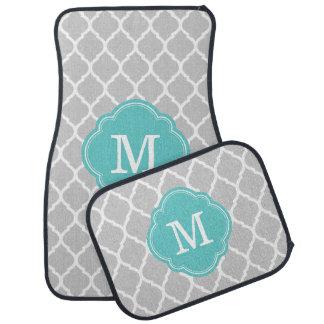Turquoise and Gray Moroccan Quatrefoil Monogram Car Mat