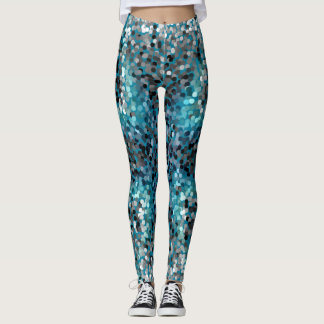 Turquoise and gray scales leggings