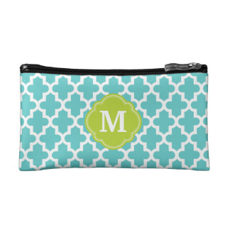 Turquoise and Green Modern Moroccan Monogram Cosmetic Bag