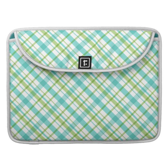 Turquoise and Green Plaid Pattern Sleeve For MacBook Pro