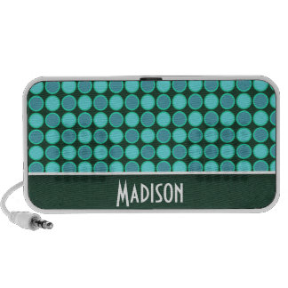 Turquoise and Green Polka Dots Speaker System